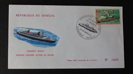 SENEGAL 1972 Paquebot France Enveloppe Commémorative De La Première Croisière Autour Du Monde - Senegal (1960-...)