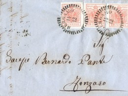 Lettre De Bergamo à Fonzaso - Triple  Affranchissement - 1855 - Lombardy-Venetia