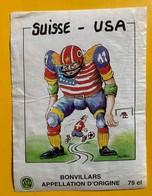 12892 - Football Suisse - USA Dessin De Bürki Bonvillars - Football
