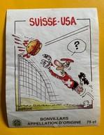 12893 - Football Suisse - USA Dessin De Barrigue Bonvillars - Football