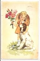 K 1333  OLD FANTASY  POSTCARD   , CHILDREN , FINE ART ,GREETINGS ,DOGS - Sin Clasificación