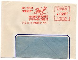 AVION = TARBES 1959 = EMA  = ' MORANE SAULNIER / MS 760 PARIS ' - EMA ( Maquina De Huellas A Franquear)