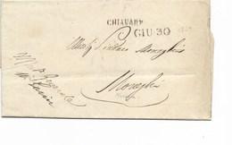 "LE 0620. LAC CHIAVARI / GIU 30  Texte Imprimé En-tête ""Regia Intendenza Generale De Chiavari"" 30 JUIN 1847 Vers Monegha - 1. ...-1850 Prefilatelia"