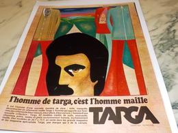 ANCIENNE PUBLICITE VETEMENT HOMME DE TARGA 1969 - Habits & Linge D'époque