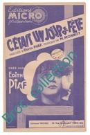 C'était Un Jour De Fête, Edith Piaf, M. Monnot, éditions Micro, Partition Chant - Chant Soliste