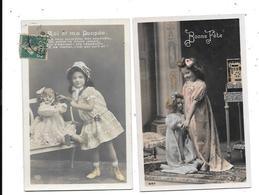11501 - Lot De 2 CPA Fantaisie, Petite Fille Avec POUPEE - Groupes D'enfants & Familles
