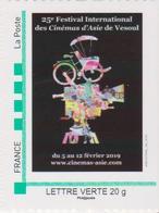 """FRANCE, Cinema, Timbre Personnalisé """"MONTRIMBRAMOI"""", 25° Festival International Des Cinémas D'Asie, Vesoul 2019 - Cinéma"""