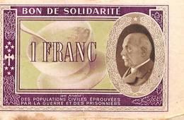 Bon De Solidarité Pétain Croix Rouge Guerre 1939 1945 - Ohne Zuordnung