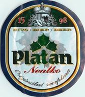 Ancienne étiquette BIERE E13 REPUBLIQUE TCHEQUE PLATAN NEALKO - Birra
