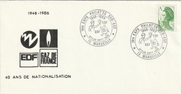 """Env. De """"Marseille - 13, Bouches-du-Rhône"""" Du 27/28-09-1986, """"Expo Philat'eg Sud-est 40 Ans EDF"""" Sur YT 2423 - Storia Postale"""