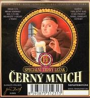 Ancienne étiquette BIERE E13 REPUBLIQUE TCHEQUE CERNY MNICH - Birra