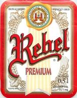 Ancienne étiquette BIERE E13 REPUBLIQUE TCHEQUE REBEL PREMIUM - Birra