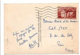 ANDORRE N°128 SEUL SUR CARTE POUR LA FRANCE 1954 - Lettres & Documents