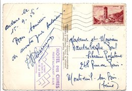 ANDORRE N°143 SEUL SUR CARTE POUR LA FRANCE 1956 - Andorre Français
