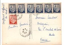 ANDORRE AFFRANCHISSEMENT COMPOSE DE BLASONS SUR CARTE POUR LA FRANCE 1954 - Lettres & Documents