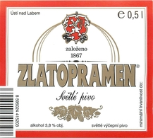 Ancienne étiquette BIERE E13 REPUBLIQUE TCHEQUE ZLATOPRAMEN - Birra
