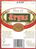 Ancienne étiquette BIERE E13 REPUBLIQUE TCHEQUE ARGUS - Birra