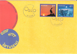 Norge Norway 1999 Millennium (III). Bird And Winter, Mi 1335-1336 FDC, - Briefe U. Dokumente