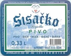 Ancienne étiquette BIERE E13 REPUBLIQUE TCHEQUE SISACKO - Birra