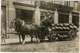 Brasseur, Livreurs En Charrette à Chevaux, De Fûts De Bière.  C 1900 Lieu Non Situé Tirage Original D'époque FG0225 - Métiers