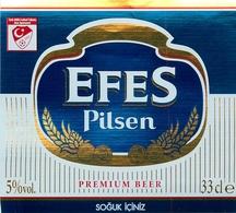 Ancienne étiquette BIERE E14 TURQUIE EFES PILSEN - Birra