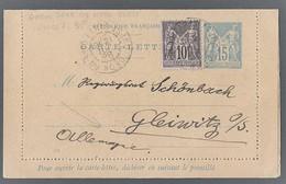 Sage Y/T 89 Sur Carte Lettre Entier Sage 15c Bleu TAD Paris Gare Du Nord Ouest Vers Glenvitz ( Allemagne - Postmark Collection (Covers)