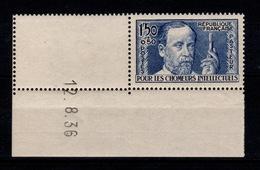 YV 333 N** Petit Coin Daté , Chomeurs Intellectuels Cote 50+ Euros - Nuevos