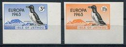 1963 Guernsey Jethou Europa Razorbill Birds, Corner Marginal IMPERF Set. Unmounted Mint - Local Issues