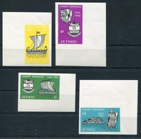 1966 Guernsey Jethou Norman Year, Marginal IMPERF Set. 1066 Norman Invasion, Ships Lighthouse.  Unmounted Mint - Local Issues