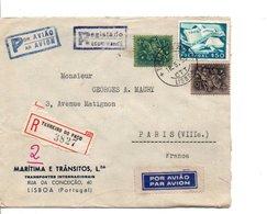 PORTUGAL AFFRANCHISSEMENT COMPOSE SUR LETTRE AVION RECOMMANDEE DE TERREIRO DO PÄCO POUR LA FRANCE 1955 - 1910-... République