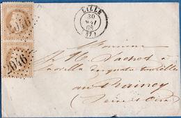 France 1868 2* 10 C Empire Lauré Letter From Lille To Raincy, Ambulant Arras à Paris, Paris A Epernay, 2003.3020 - Marcophilie (Lettres)
