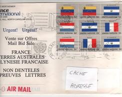 """Beaux Timbres , Stamps """" Drapeaux """" Sur Lettre , Cover , Mail  Du 14/04/1984 ? Pour La France - New York -  VN Hauptquartier"""