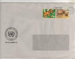 """Beaux Timbres , Stamps """" Animaux : Espèces Menacées D'extinction """" Sur Lettre , Cover  Du 25/08/1995 - Genf - Büro Der Vereinten Nationen"""