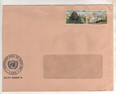 """Beaux Timbres , Stamps """" Animaux : Espèces Menacées D'extinction """" Sur Lettre , Cover  Du 15/04/1993 - Genf - Büro Der Vereinten Nationen"""
