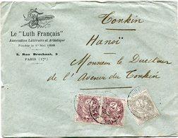 """FRANCE LETTRE A ENTETE COMMERCIALE LE """"LUTH FRANCAIS"""" DEPART PARIS 2-9-12 R. JOUFFROY POUR LE TONKIN - 1900-29 Blanc"""
