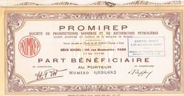 Titre Ancien - PROMIREP - Société De Prospections Minières Et De Recherches Pétrolières - - Pétrole