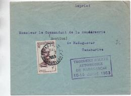 """1953 - ENVELOPPE De TANANARIVE (MADAGASCAR) Avec CACHET """"TROISIEME RALLYE AUTOMOBILE"""" - Lettres & Documents"""