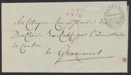 """Précurseur - LAC """"Tribunal Criminel"""" (Gand) Datée 2 Messidor (4e Année, 1796) + Obl Linéaire 92 GAND Vers Grammont - 1794-1814 (Période Française)"""