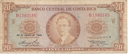 BILLETE DE COSTA RICA DE 20 COLONES AÑO 1966  (BANKNOTE) - Costa Rica