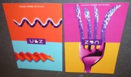 2 Cartes Postales - Carlton Food Network (nouille / Tire-bouchon - Fourchette / Asperges) - Pubblicitari