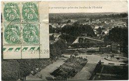 FRANCE CARTE POSTALE AFFRANCHIE AVEC LE N°111 EN BLOC DE 4 DATE DU 27-12-28 DEPART EXPOSITION........... 19-5-30 LIMOGES - 1900-29 Blanc