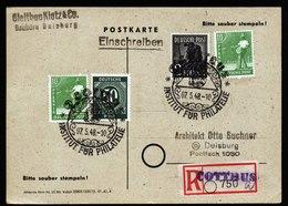 A6665) SBZ R-Karte Von Cottbus 07.05.48 Mit Sonderstempel Und Provisorischen R-Zettel N. Duisburg - Gemeinschaftsausgaben