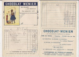 Lot De 2 Factures 1931 -    CHOCOLAT MEUNIER Tablette RIALTA - Alimentare