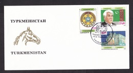 Turkmenistan: FDC First Day Cover, 1992, 3 Stamps, President, Horse, Heraldry, Building (traces Of Use) - Turkmenistan