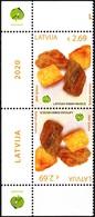 LATVIA 2020-04 Museum Of Nature: Baltic Amber. Margin TB Pair, MNH - Minerals