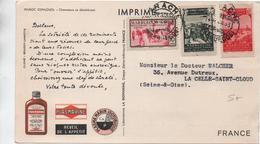1953 - CARTE IMPRIME PUBLICITAIRE PUB SANTE - MAROC - Maroc (1891-1956)