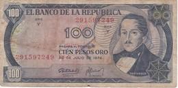 BILLETE DE COLOMBIA DE 100 PESOS DE ORO DEL AÑO 1974  (BANK NOTE) - Kolumbien