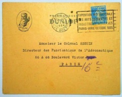 FRANCE 1924 - PNEUMATICI DUNLOP - 25 CENT PERFIN - Publicité