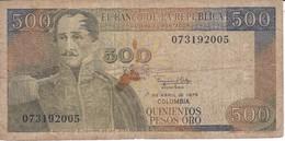 BILLETE DE COLOMBIA DE 500 PESOS DE ORO DEL AÑO 1979  (BANK NOTE) - Colombia
