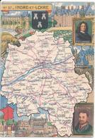 Carte Géographique Signée PINCHON - N° 37 - Indre Et Loire. Blason. Descartes. Rabelais, Spécialités Culinaires. - Unclassified